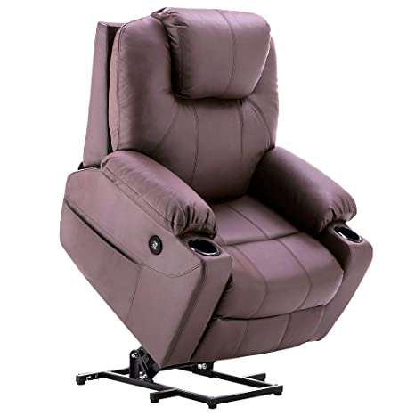 Mcombo Electric Power Lift Recliner Chair Sofa with Massage and Heat for Elderly, 3 Positions, 2 Side Pockets and Cup Holders, USB Ports, Faux Leather ...