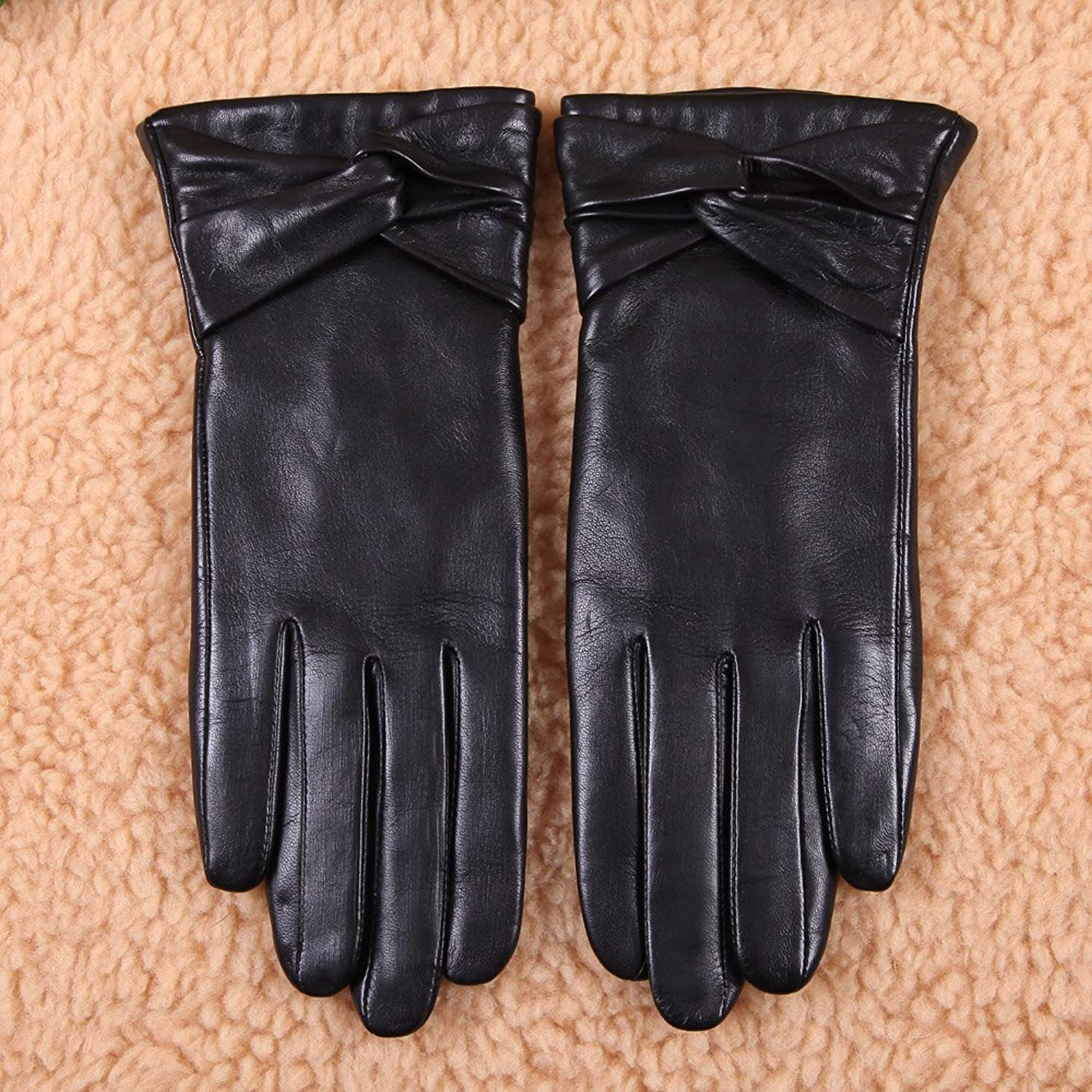 Leather driving gloves macys - Warmen Women S Lambskin Leather Cold Weather Gloves With Crossing Bow 6 5 Black Touchscreen Function Wool Lining At Amazon Women S Clothing Store