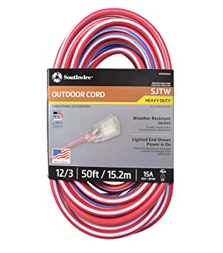 southwire 02548 usa1 50 foot contractor grade 12 3 with lighted end rh amazon com