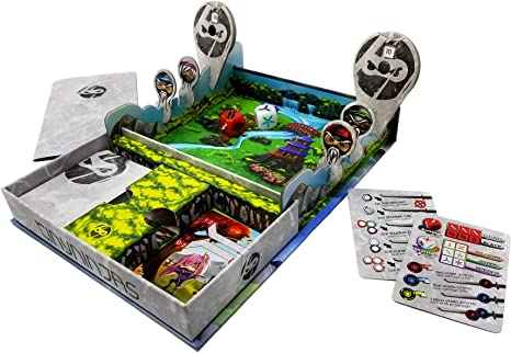 Tiny Ninjas - Battle in a Box, High-Energy, Card & Dice Game for 1-2 Players, Transforming Game Box, Designed for Travel