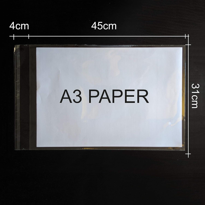70/microns Lot de 100 sachets TaylorHe Format A3/- Film polypropyl/ène 31 x 45/cm rabat de 4/cm En cellophane transparent Solides