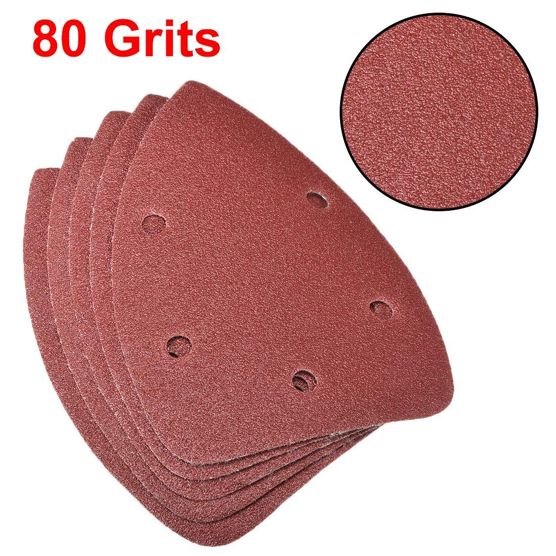 uxcell/® Triangle Detail Sander Sandpaper,Sanding Paper,Sander Pads Sheet Assorted,5 Hole 120 Grits 10pcs