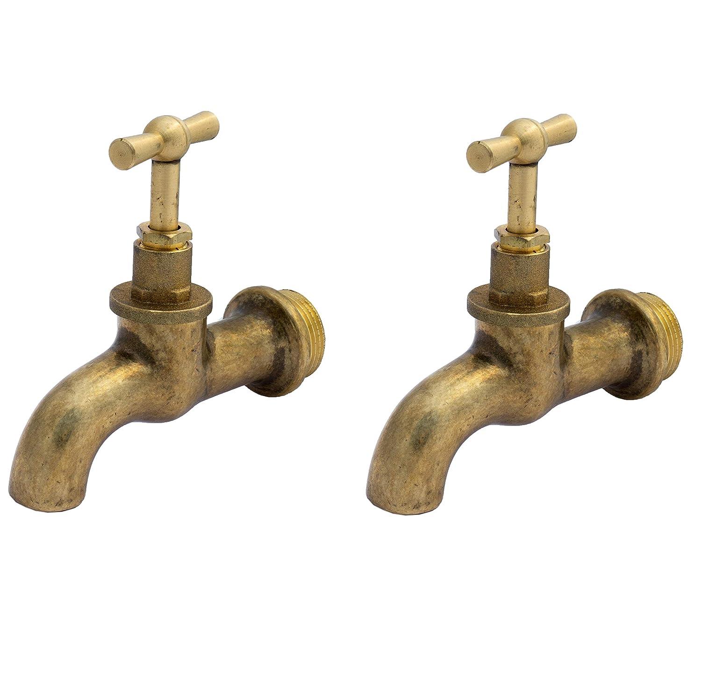 BFG PACK OF 2 3//4 GARDEN TAP OUTDOOR POLISHED OLD STYLE VINTAGE water lever bib brass