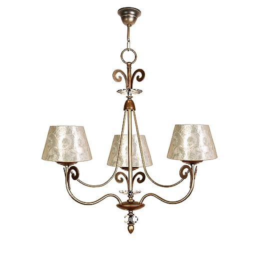 Lámpara de techo de 3 luces acabado cuero con pantalla con ...