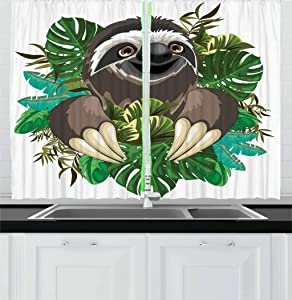 Ambesonne Sloth Kitchen Curtains, Cartoon Mammal on Tropical Jungle with Green Banana Leaves Character, Window Drapes 2 Panel Set for Kitchen Cafe Decor, 55