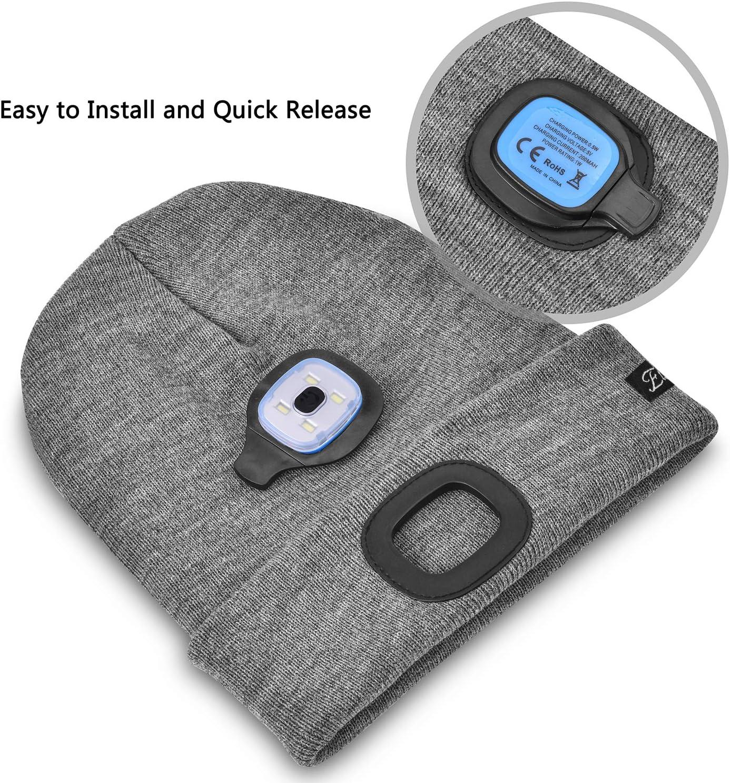 Ski /éclairage ext/érieur pour activit/és Nocturnes p/êche v/élo. Course /à Pied Danolt Bonnet tricot/é /à LED Rechargeable par USB Rechargeable pour 4 phares /à LED randonn/ée