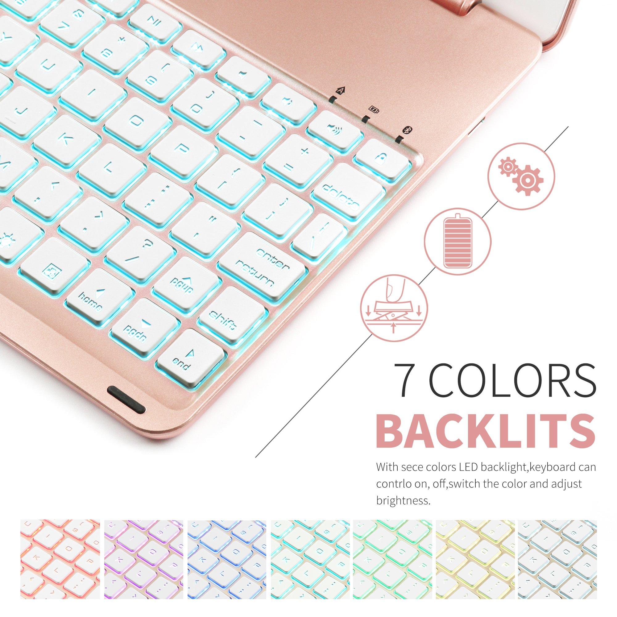 Keyboard Case iPad 9.7 2018(6th Gen) - iPad 9.7 2017(5th Gen) - iPad Air 1-130 Rotating - 7 Color Backlit Keyboard -Thin & Light - iPad Case with Keyboard, (Rose gold, 9,7)