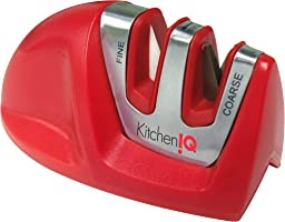 Kitchen IQ 50883 Afilador de Cuchillo Manual de 2 etapas, Rojo