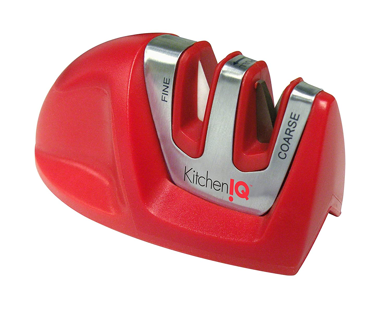 Kitchen IQ 50883 Edge Grip 2-Stage Knife Sharpener, Red