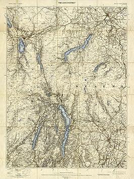 Map Of Uk 1900.The Lake District Ordnance Survey Map 1900 Size A1 59 4 X 84 1 Cm