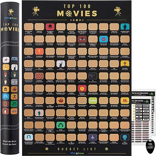100 Movies Scratch Off Poster Bucket List | Pegatinas, Picking para rascar y Tubo de Regalo | califique Cada película y personalice su póster!: Amazon.es: Oficina y papelería