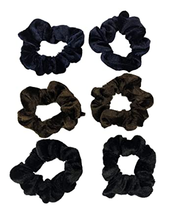 ea82cfd83c5 Amazon.com   6 Pack Velvet Hair Scrunchies Scrunchy Bobbles Elastic Hair  Bands Ties Hair Accessories Wrist Band for Women Girls Pony Tails and Buns ( Velvet) ...