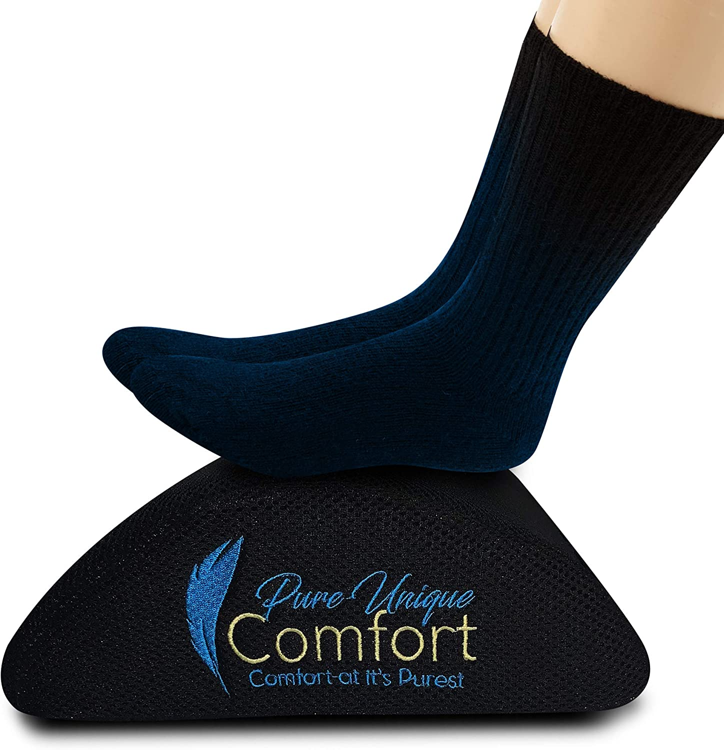 Foot Rest for Under Desk, Pillow Cushion Non-Slip Bottom, Memory Foam, 3D Mesh Ergonomic Foot Stool Rocker, for Home, Office, and Travel, Footrest with Carry Handle by Pure Unique Comfort