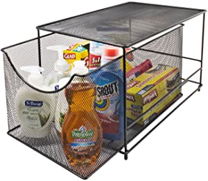 Sorbus Cabinet Organizer Drawers— Mesh Storage Organizer with Pull Out Drawers—Ideal for Countertop, Cabinet, Pantry, Under the Sink, Desktop and More (Black Bottom Drawer)