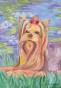 Toland Home Garden Bonnet Yorkie 12.5 x 18 Inch Decorative Spring Puppy Dog Flower Portrait Garden Flag