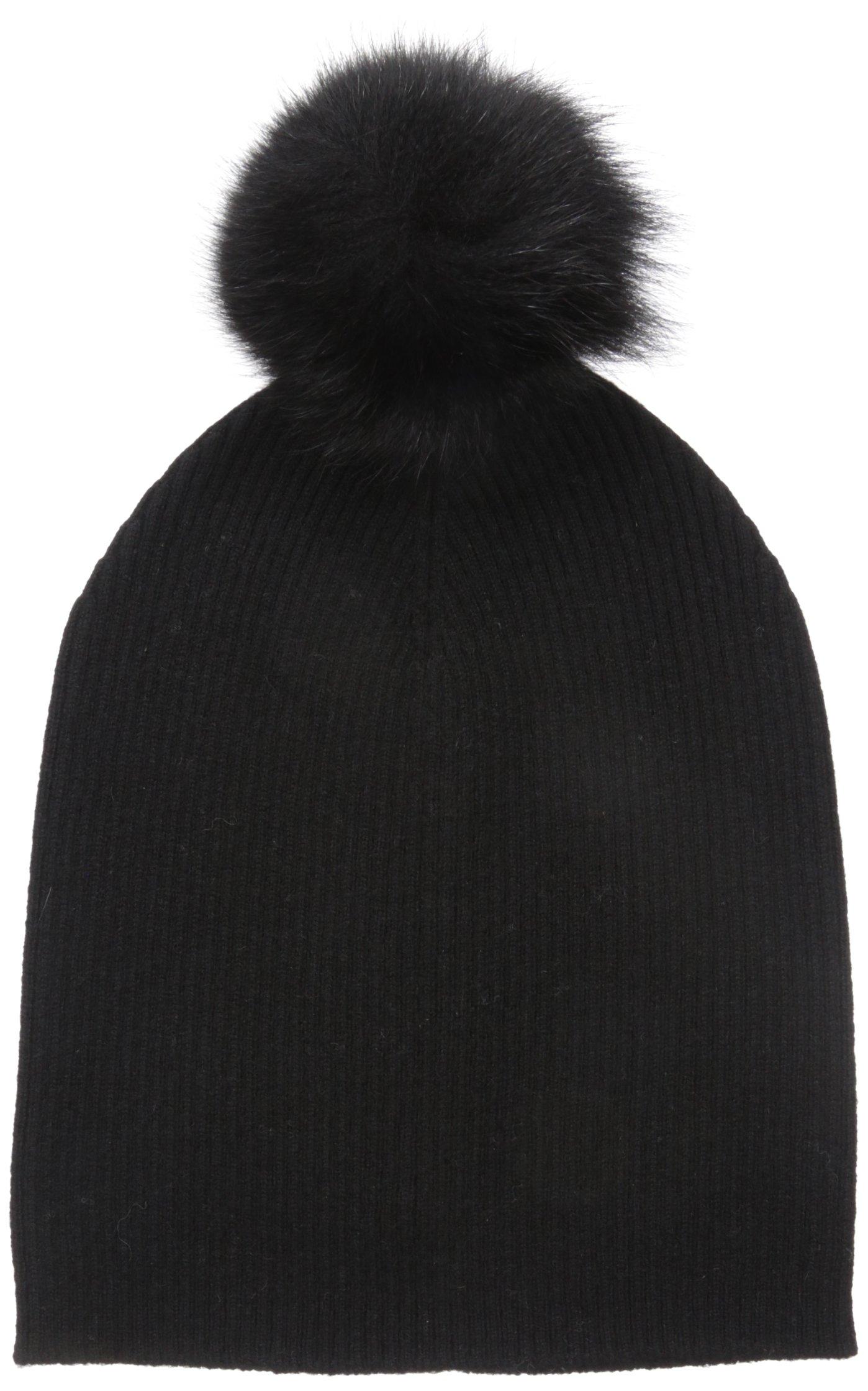 Sofia Cashmere Women's 100% Cashmere Slouchy Beanie with Fox Fur Pom, Black, One by Sofia Cashmere
