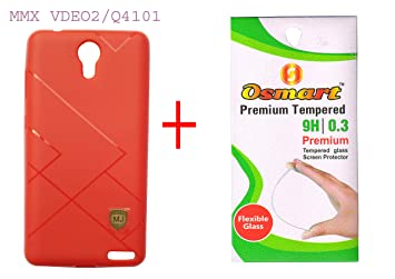 JAGADHATRI Soft Back Cover for MICROMAX VDEO 2 / MMX Q4101 + Temper Glass Combo Offer  RED . Cases   Covers
