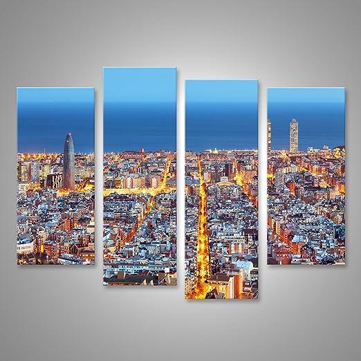 islandburner Cuadro Cuadros Horizonte de Barcelona, Vista aérea por la Noche, España Impresión sobre Lienzo - Formato Grande - Cuadros Modernos: Amazon.es: Hogar