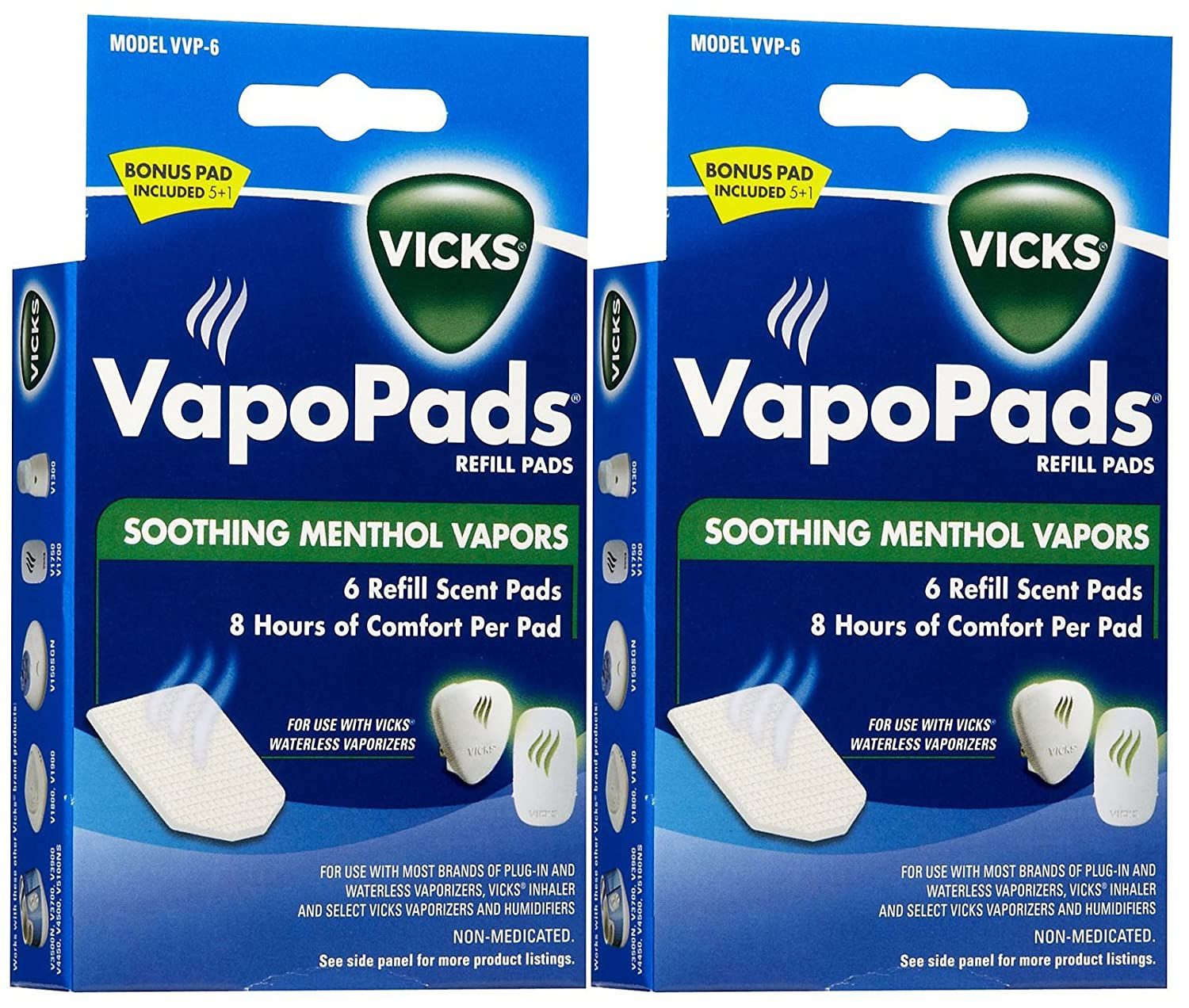 Vicks VapoPads Refill Pads, Menthol - 6 ct, Pack of 2 KAZ INCORPORATED