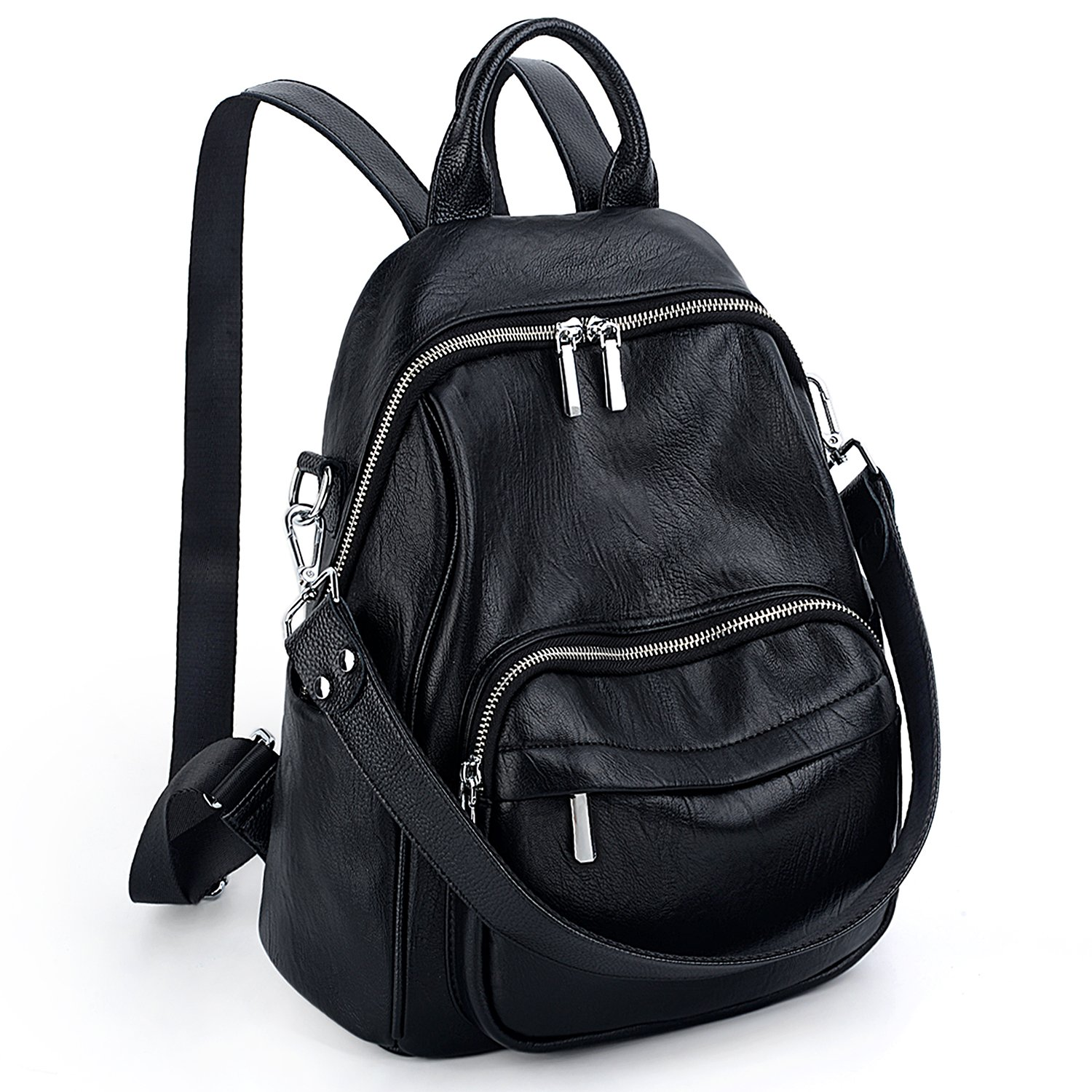 UTO Women Backpack Real Leather Handle Straps Convertible Ladies Rucksack Shoulder Bag Black