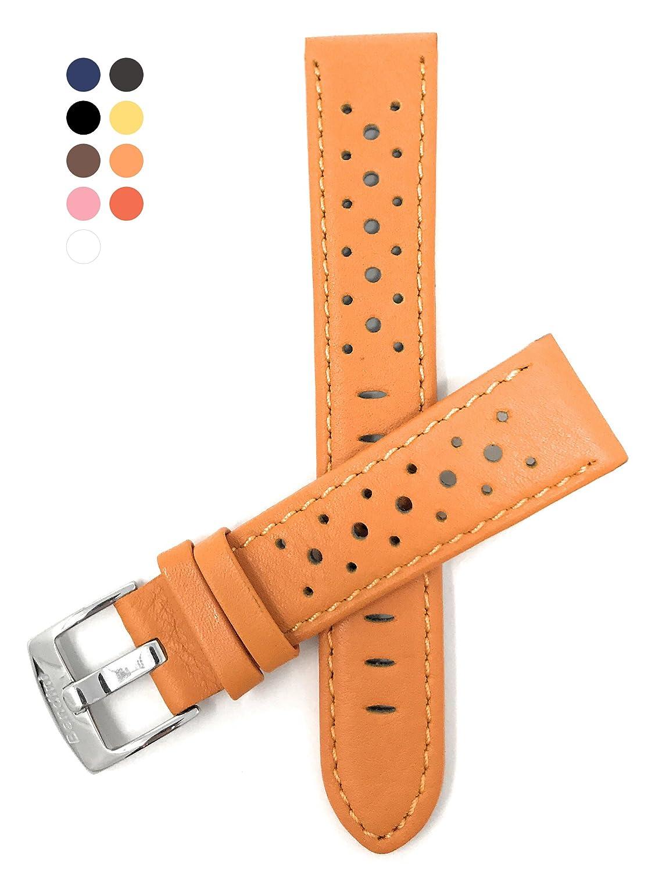 (バンディニ) Bandini 通気孔付き本革製腕時計バンド レーサー ステンレス製バックル付き 18~24mm 選べるカラー 22MM オレンジ B01BB37MKU 22MM|オレンジ オレンジ 22MM