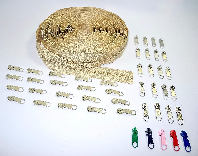 10 Yards of Make Your Own Zipper White 45 Zipper Pulls Zipper by The Yard Nuburi