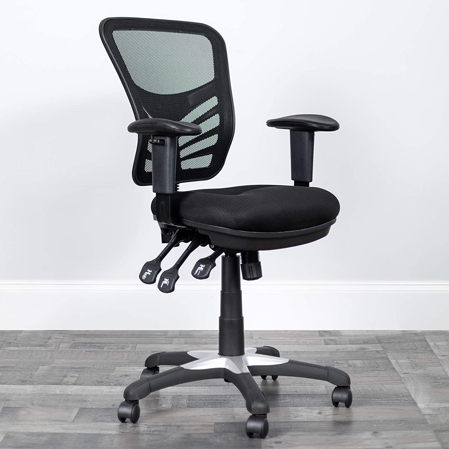 Flash Furniture Mid-Back Black Mesh Multifunction Executive Swivel Ergonomic Office Chair with Adjustable Arms: Kitchen & Dining