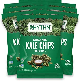 product image for Rhythm Superfoods Kale Chips, Original, Organic and Non-GMO, 0.75 Oz (Pack of 8) Single Serves, Vegan/Gluten-Free Superfood Snacks