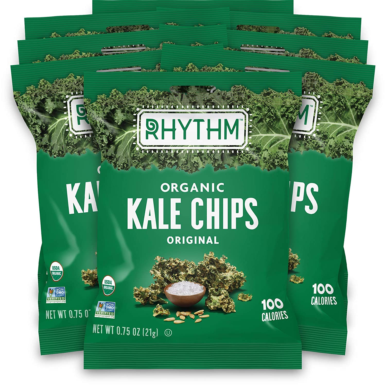Rhythm Superfoods Kale Chips, Original, Organic and Non-GMO, 0.75 Oz (Pack of 8) Single Serves, Vegan/Gluten-Free Superfood Snacks