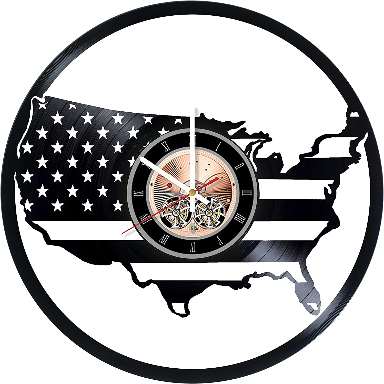 United States Flag Vinyl Record Wall Clock - Home Room or Living Room Wall Decor - Gift Ideas for Men and Women, Friends, Teens – City Unique Art Design
