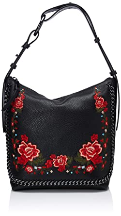 baa9829fb5ec Calvin Klein womens Calvin Klein Liana Pebble Leather Floral Embroidery  Belted Top Zip Slouchy Hobo