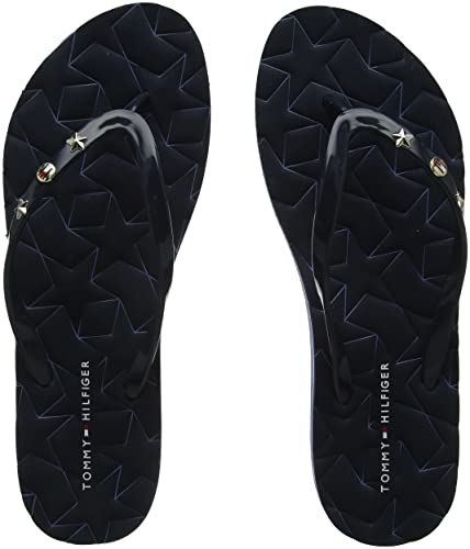 Tommy Hilfiger Damen Metallic Star Beach Sandal Zehentrenner, Blau (Midnight 403), 39 EU
