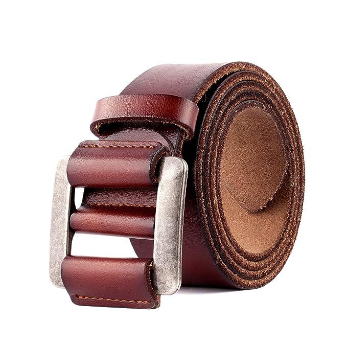 Cinturón de Cuero Genuino Para Hombres - Cinturones de Vestir Clásicos  Ajustables Para Hombres Sin Agujeros Color Negro y Marrón  Amazon.es  Ropa  y ... 9604cb6212a8