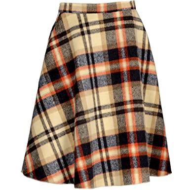 YSJ Women's Wool Midi Skirt A-Line Pleated Vintage Plaid