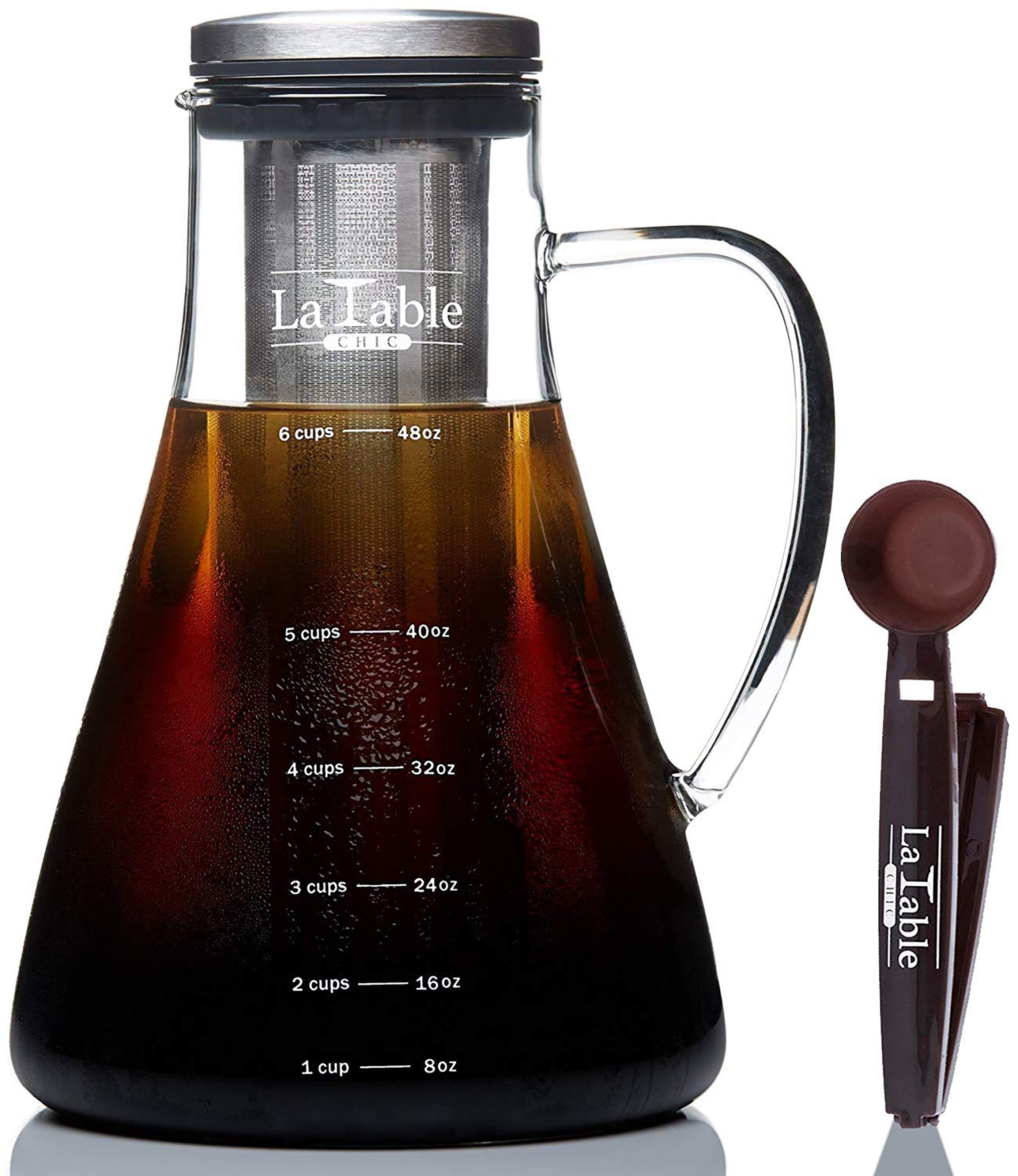 Cold Brew Coffee Maker and Tea Maker - Large 1.5L/50oz - Bonus Spoon - Glass Loose Leaf Iced Tea Infuser & Ultra Fine Double Mesh Stainless Steel Filter, Dishwasher Safe, Coffee Fresh For 2 Weeks by La Table Chic