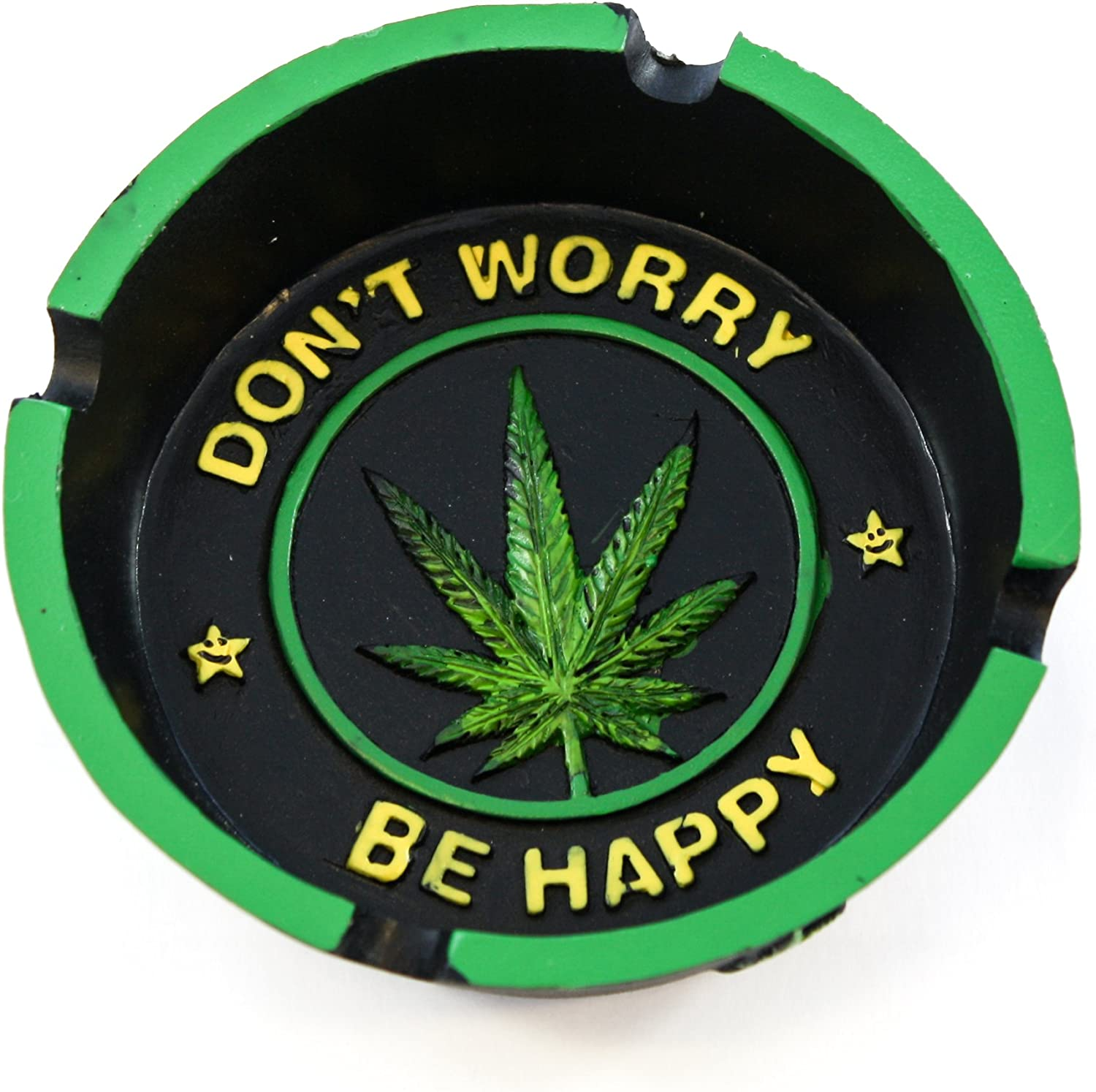 "Cool Cigarette Ashtray Inscribed ""Don't Worry, Be Happy"" and Marijuana Leaf Centerpiece For Home Decor - Smoke Anywhere With Vintage Hippie Pot Leaf Weed Ashtray Craft Table Top Decoration Gifts"