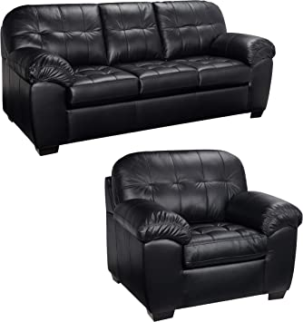 Amazon.com: Black Italian Leather Sofa and Chair Set - This ...