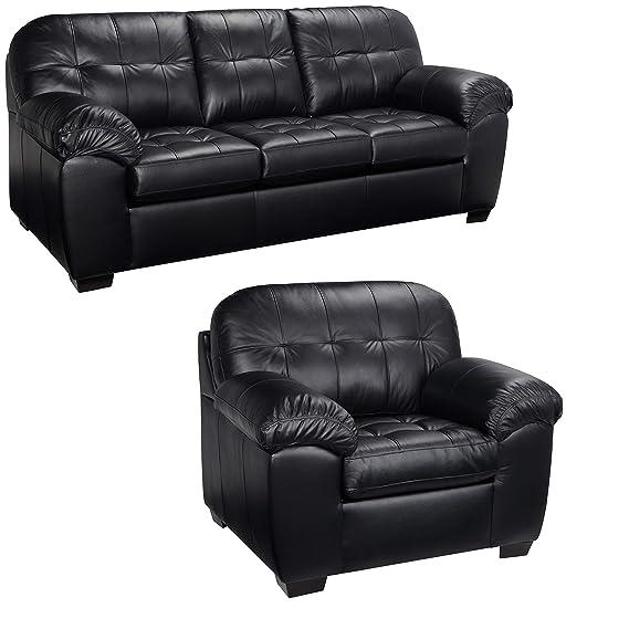 Amazon.com: Sofá de piel y sillas italiana – Este juego de ...