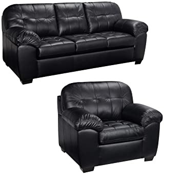Fine Amazon Com Black Italian Leather Sofa And Chair Set This Onthecornerstone Fun Painted Chair Ideas Images Onthecornerstoneorg