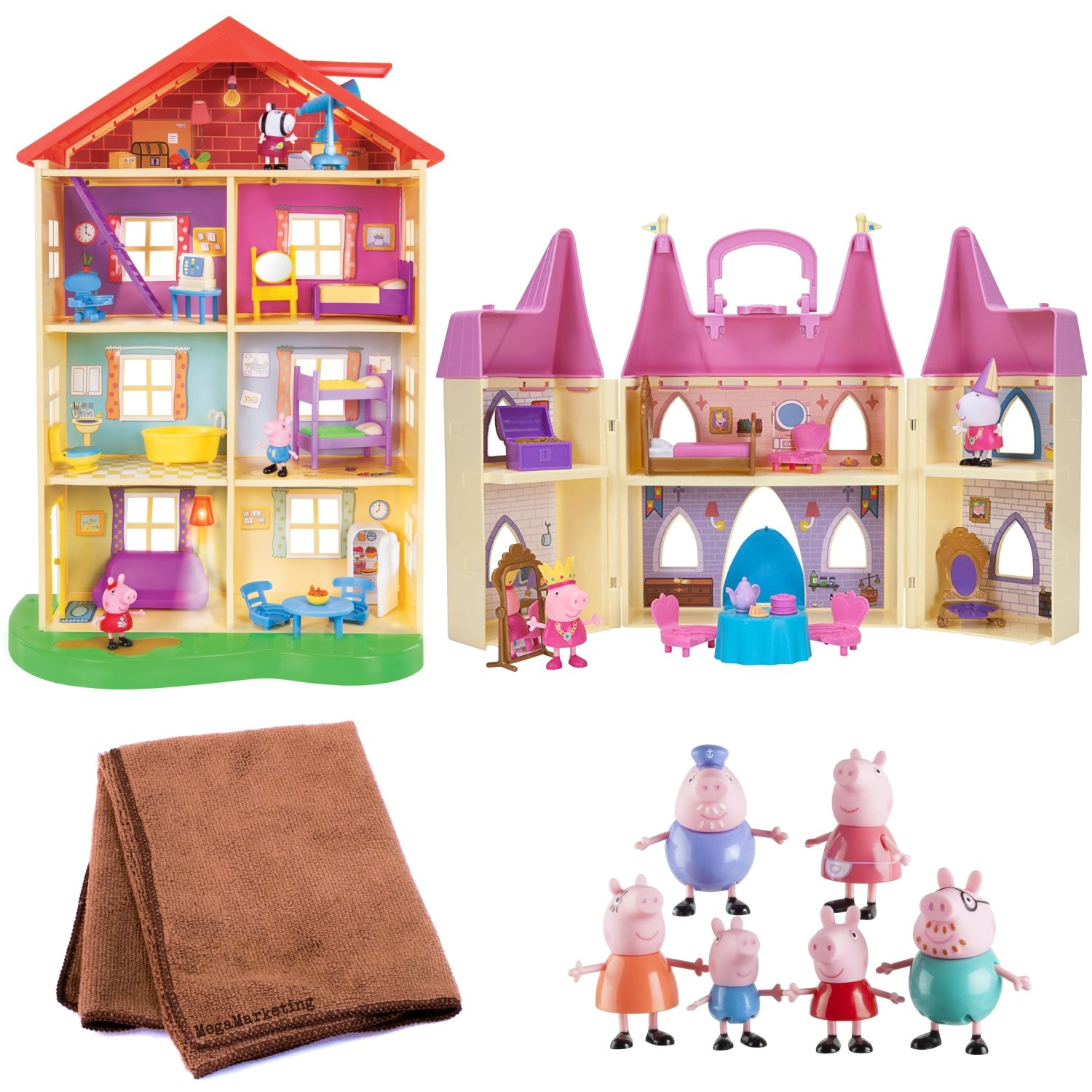 Peppa Pig Princess Castle Playset, Peppa Pig Light and Sounds Family Home, and 6-Piece Peppa Pig Family Figures, Bundle with Cleaning Cloth