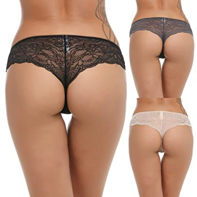 Ekouaer Womens No Panty Line Lace Brief Cheeky Hispter Underwear 3 ...