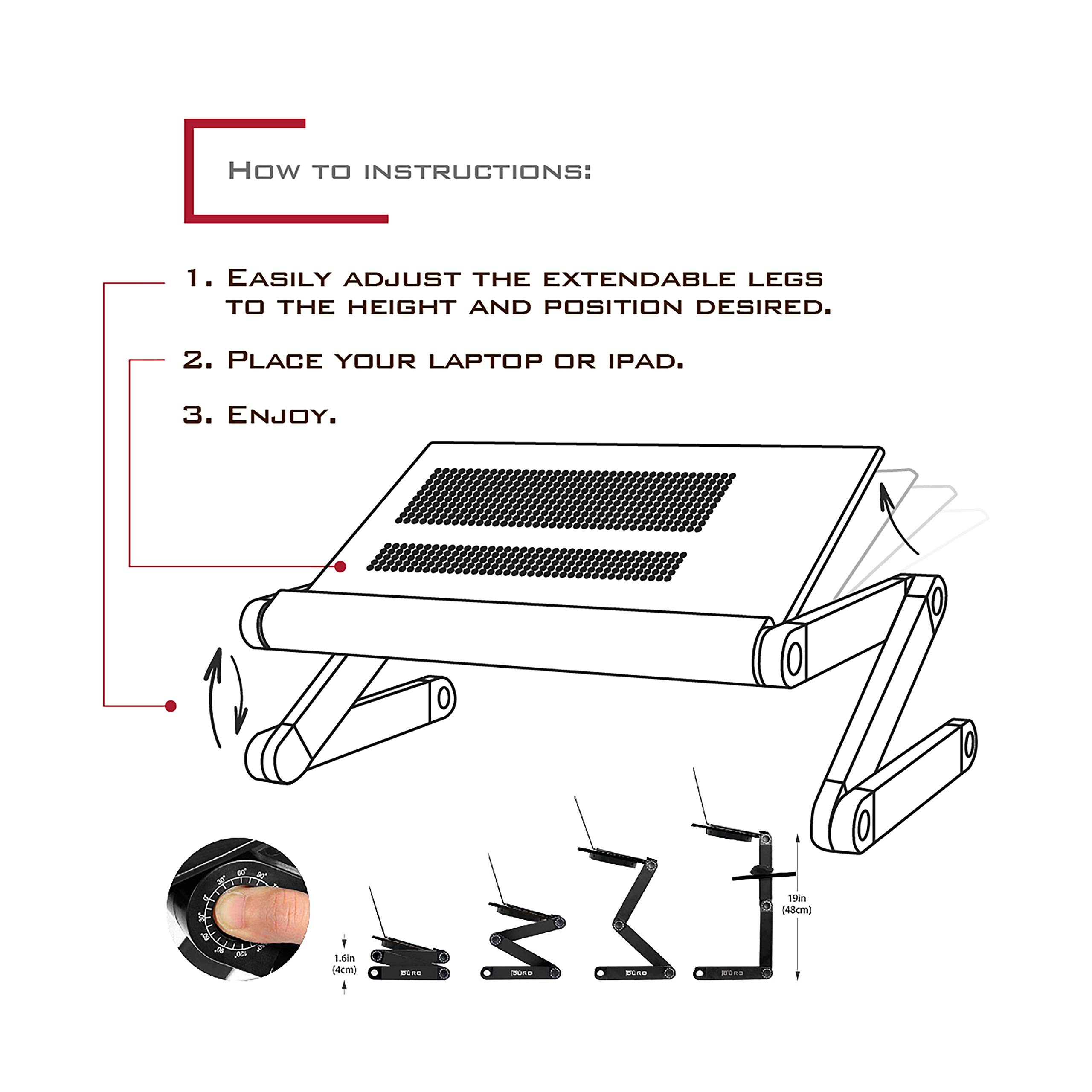Height Laptop Holder is Adjustable for Desk Or Bed with Mouse and Mouse-pad | Black Color | Laptop Table Top with Vented Stand for Cooling | Comes with Side Tray for Mouse by Büro Solutions (Image #7)