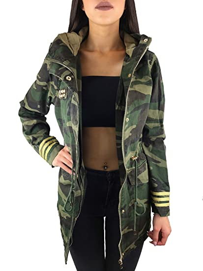 Worldclassca Damen Camouflage Parka Jacke MILITÄR GRÜN ÜBERGANGSJACKE Mantel Nieten Retro Blouson Army Parka LANG MIT REIßVERSCHLUSS Kapuze Zip