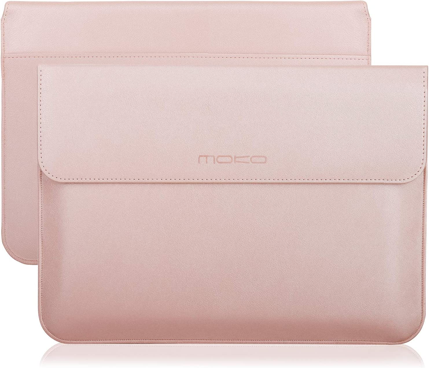 "MoKo 13-13.3 Inch Laptop Sleeve Case Compatible with MacBook Air 13-inch Retina, MacBook Pro 13"", Dell XPS 13, Samsung Notebook 13.3"" PU Leather Envelope Case with Document Pocket, Rose Gold"