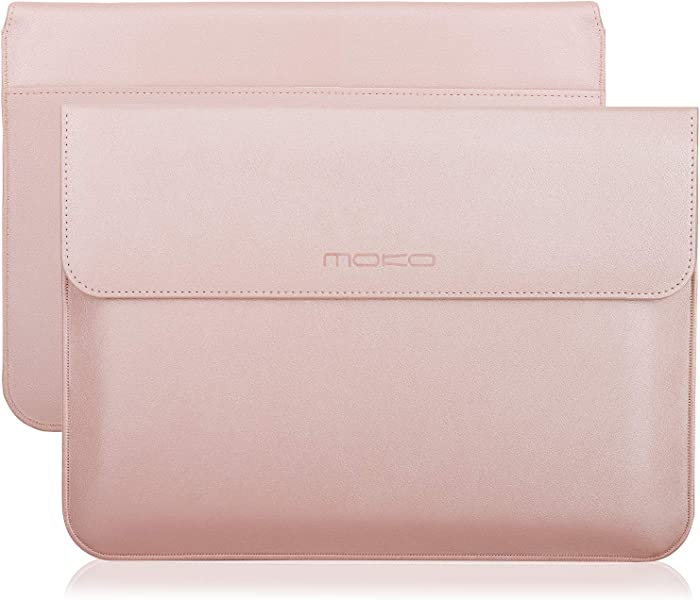 """MoKo 13-13.3 Inch Laptop Sleeve Case Compatible with MacBook Air 13-inch Retina, MacBook Pro 13"""", Dell XPS 13, Samsung Notebook 13.3"""" PU Leather Envelope Case with Document Pocket, Rose Gold"""