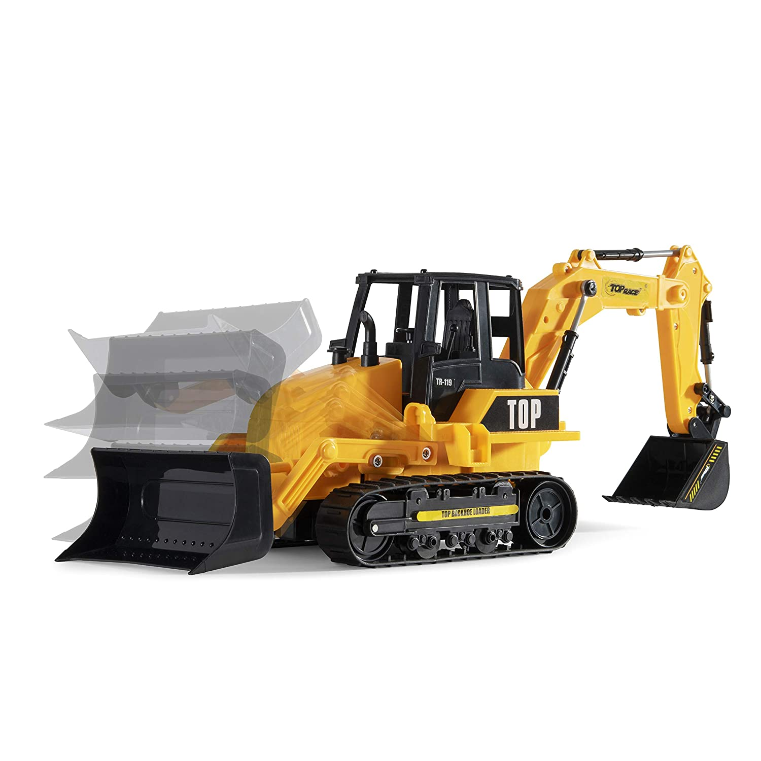 Top Race 8 Channel Full Functional RC Excavator Backhoe Loader, Battery  Powered Electric RC Remote Control Construction Tractor with Lights & Sound