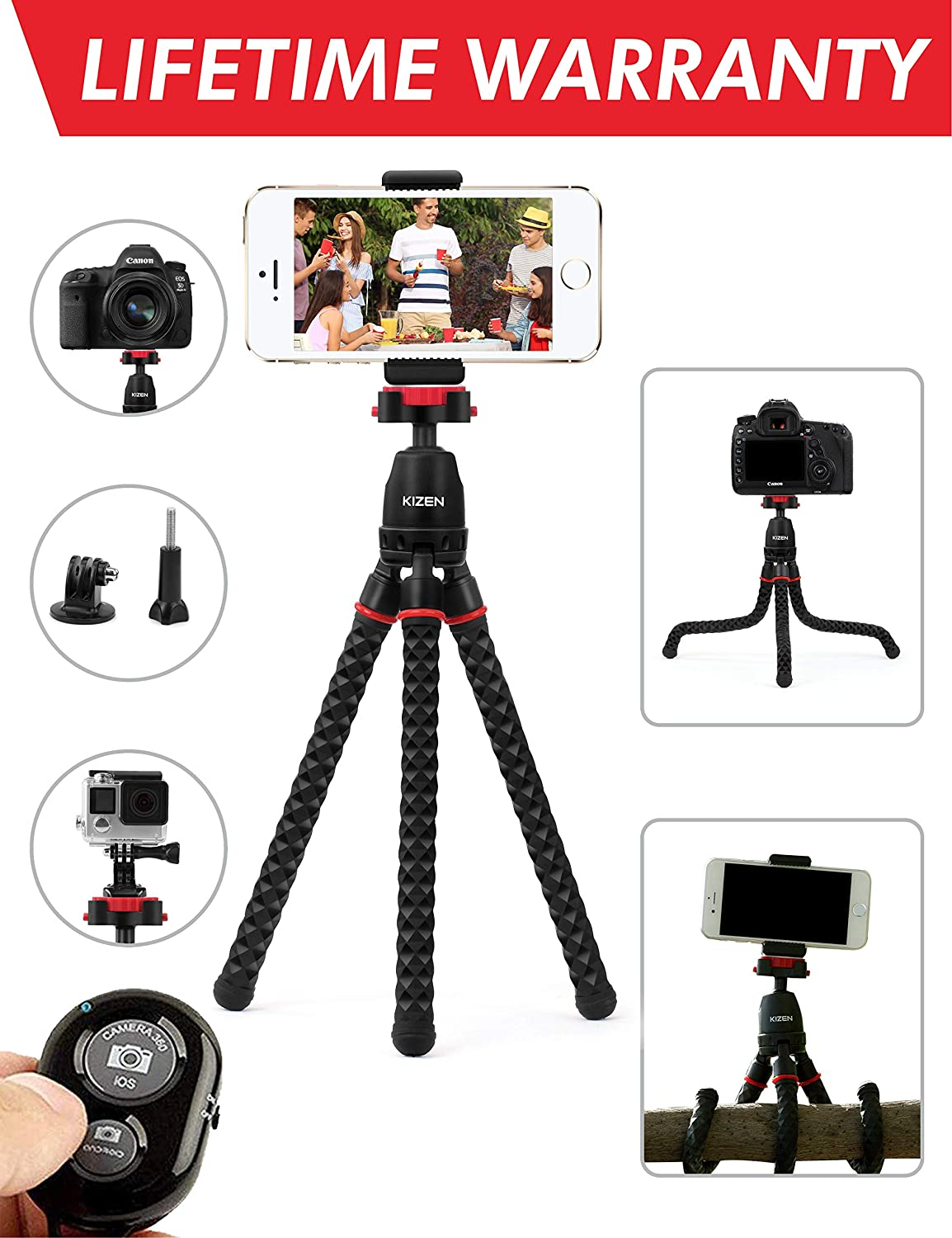 Kizen Phone Tripod with Wireless Remote. Adjustable Camera Stand Holder, Flexible Tripod with Universal Phone Clip. Compatible with iPhone, Android Phone, Camera, Sports Camera GoPro