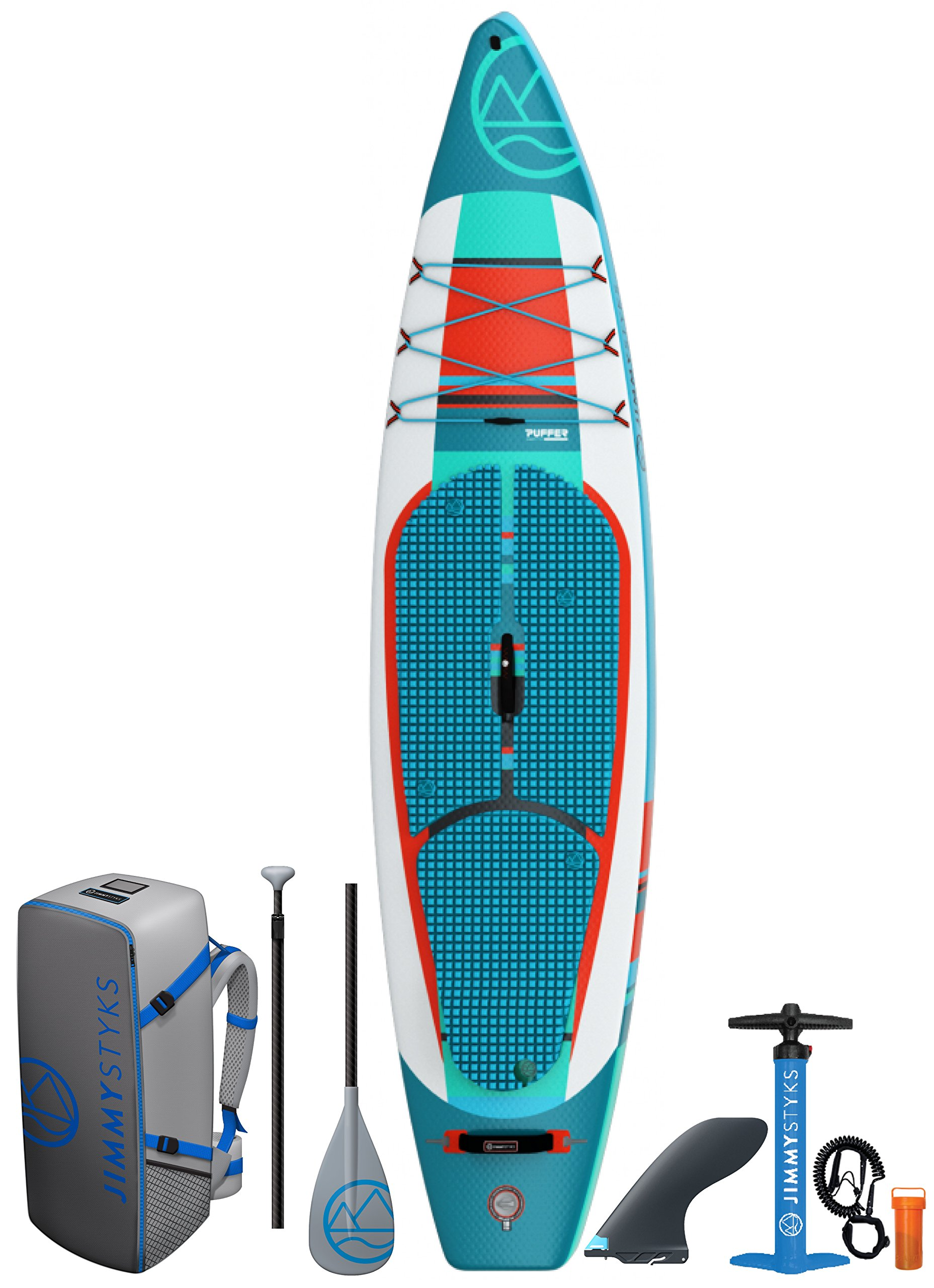 Jimmy Styks Puffer (2018) Inflatable Stand Up Paddle Board Green & Orange 11''6'' Long, 31'' Wide 5.9'' Thick | Touring Inflatable SUP | Includes Click-N-Go Fin, Leash, Pump, Travel Paddle and Board Bag