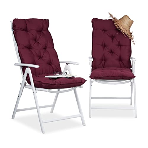 Relaxdays Matelas Coussin Pour Fauteuil Chaise Lot De 2 Jardin Terrasse Balcon Intrieur HxlxP 115