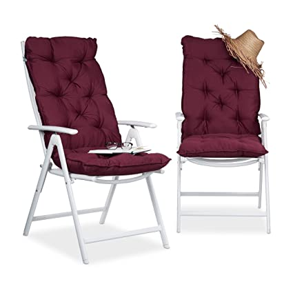 Relaxdays Juego de Cojines para sillón de Exterior Acolchados, Algodón, Rojo, 115x47x9 cm